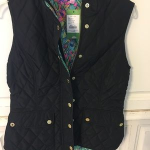 TAGS ON Lily Pulitzer Black Vest SMALL